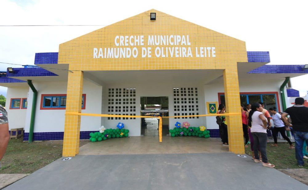 Prefeito Junior Leite inaugura primeira creche de Maués